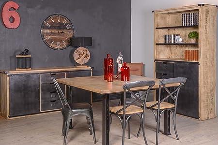 Caractere Table Carree Industrielle 140 Cm Meuble House Amazon Fr