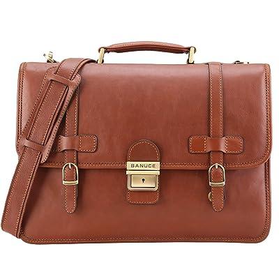 Banuce Vintage Full Grains Italian Leather Briefcase