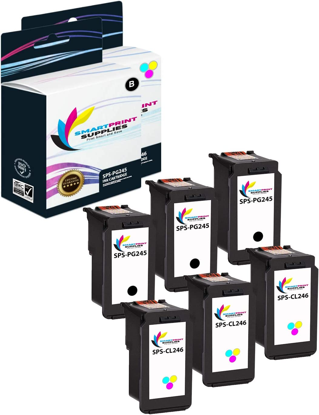 4 Black, 2 Multicolor Smart Print Supplies Compatible CL-245 CL-246 Multicolored Ink Cartridge Replacement for Canon Pixma iP2820 MX490 MX492 Printers - 6 Pack MG2420 MG2520 MG2555