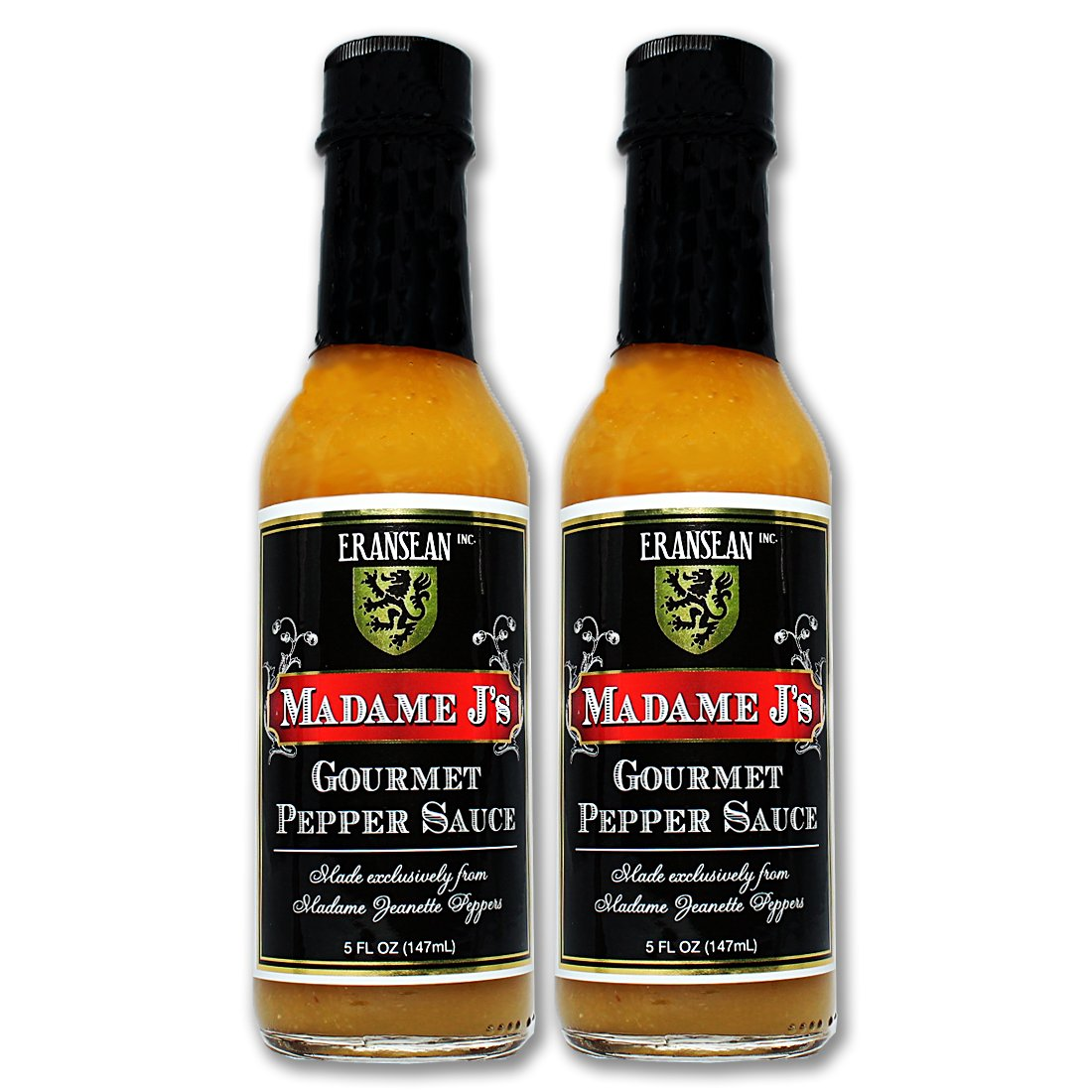 ERANSEAN Madame J's Gourmet Pepper Sauce – 2 pack/made from exclusively grown Madame Jeanette Peppers/natural unique flavor and heat/gluten free/shake bottle – 2-5 Fl. Oz. bottles