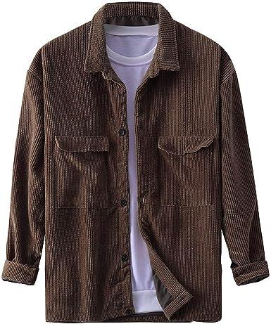Scenxion - Camisa de pana para hombre, manga larga, cuello con botones de algodón, corte regular, ajuste regular, manga larga, blusa de pana, para hombre: Amazon.es: Ropa y accesorios