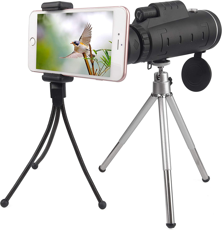 BAK4 Prism 12x50 High Power HD Vision Camping 2 Tripods /& Lanyard Hunting Duddy Cam Monocular Telescope SingleHand Focus for Bird Watching