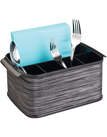 mDesign cubertero con 5 compartimentos - Organizador de cubiertos para ordenar utensilios -Bandeja para cubiertos