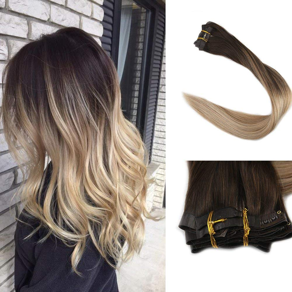 Full Shine Clip In 8 Pcs 18 Inch 120g Full Head Set Thick End Balayage Clip on Hair Remy Human Hair Extensions Seamless Invisible Clip in Extensions Human Hair Skin Weft Tape Clip Hair by Full Shine
