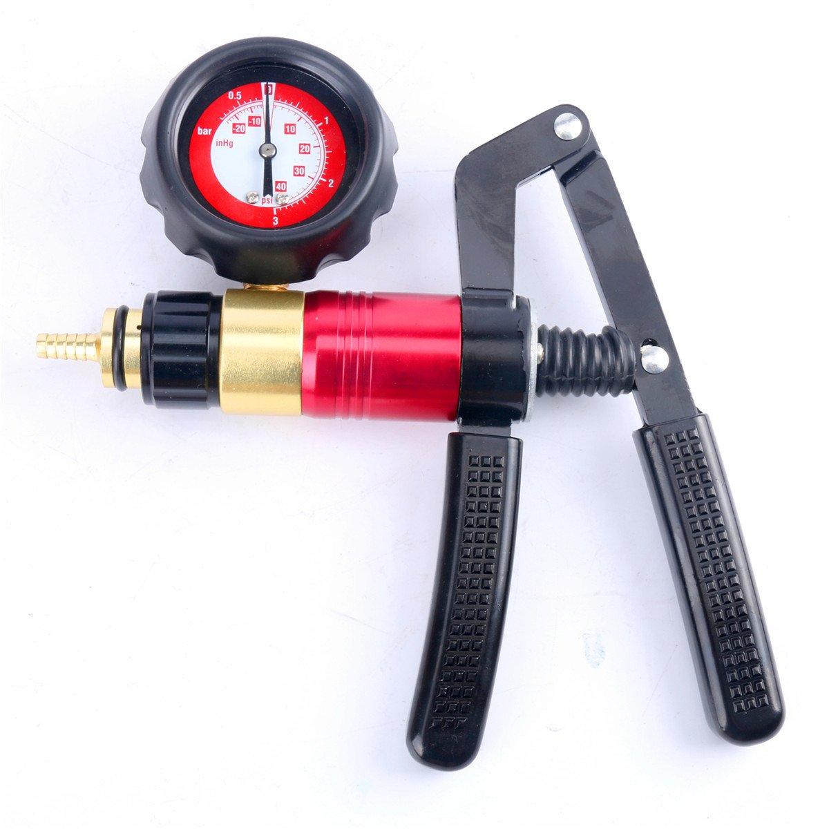 21 piezas FreeTec Kit medidor de presi/ón y vac/ío de mano de la bomba de presi/ón y del l/íquido de purgado de frenos