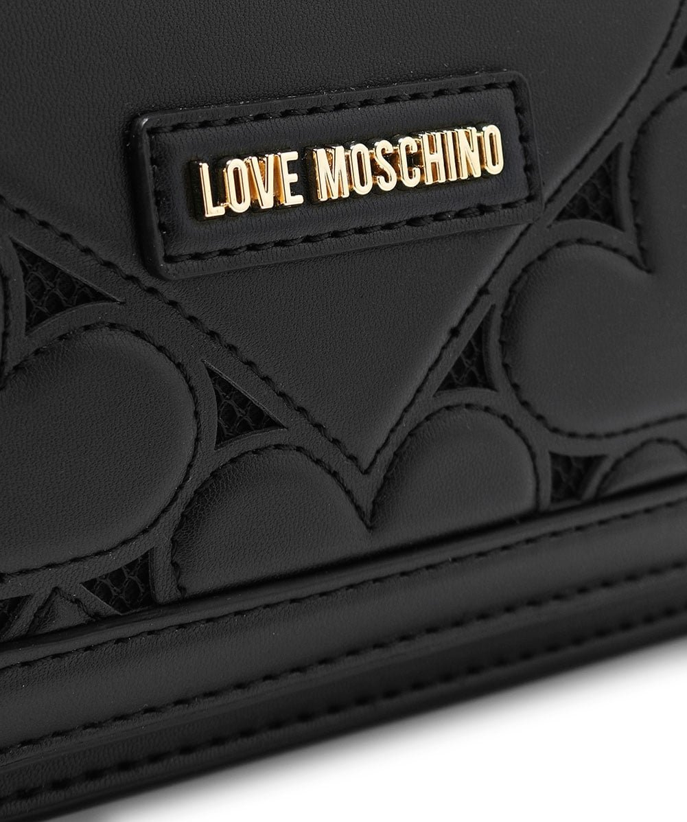 Love Moschino Women's Leather Fold Over Clutch Bag One Size Black by Love Moschino (Image #4)