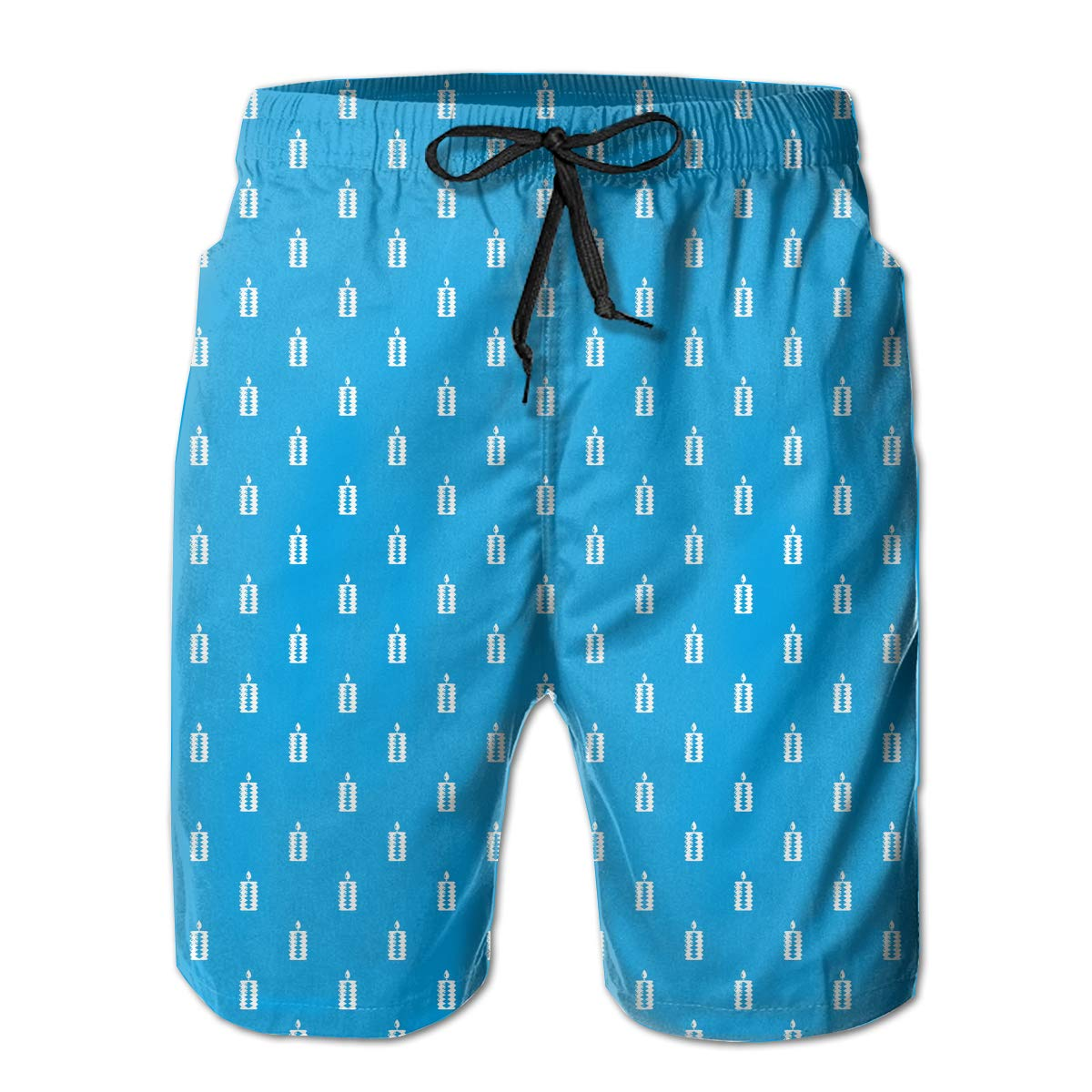 Polyester Blue Candle Decoration Pattern Beachwear with Pockets Xk7@KU Mens Casual Swim Trunks