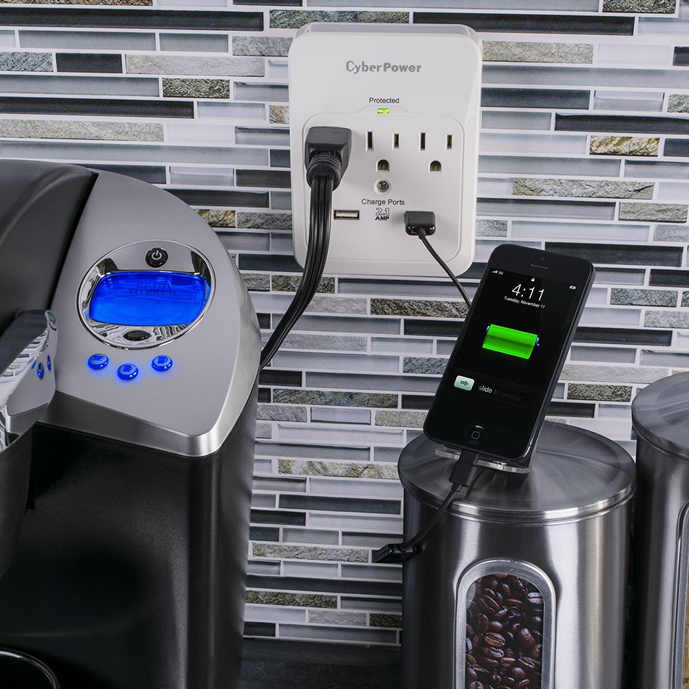 CyberPower CSP300WUR1 5 Outlet Surge Wall Tap with 2 USB Charger