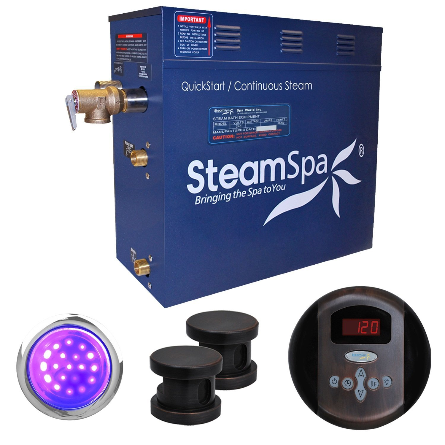 Steam Spa IN1200OB Indulgence 12 KW Quick Start Acu-Steam Bath Generator Package, Oil Rubbed Bronze