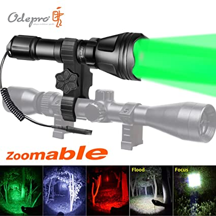 Odepro kl52plus zoomable hunting flashlight with red green white and odepro kl52plus zoomable hunting flashlight with red green white and ir850 light led lamps remote pressure aloadofball Images