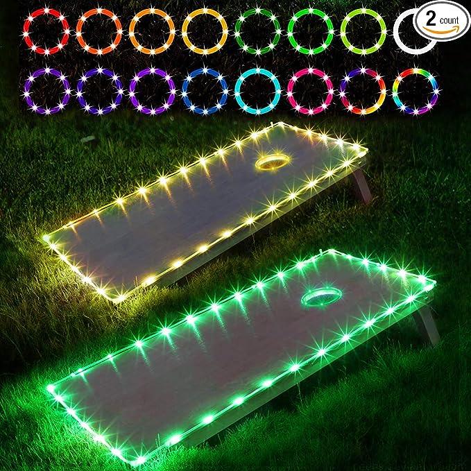 horen Cornhole LED-Leuchten Ultraleichte Board Corn Hole Lichter 3 Farbalternativen wasserdichte Cornhole Ring Lichter f/ür Familie Hinterhof Sitzs/äcke Werfen Spiel