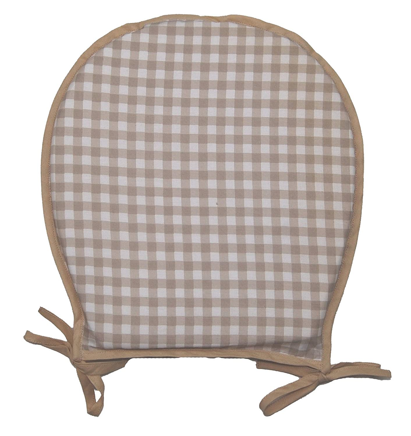 Gingham Check 100% Cotton Seat Pad Square Garden Kitchen Dining Chair Cushion 40cm x 37cm (Beige) Classic Home Store