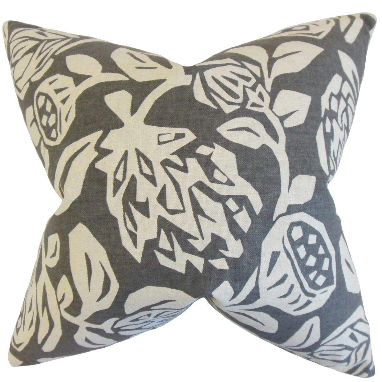 The Pillow Collection Izzy Floral Gray Down Filled Throw Pillow