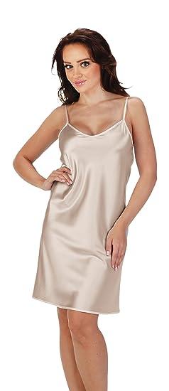 Womens Nighty Gown Short Sleeveless Monochrome Satin Night Dress
