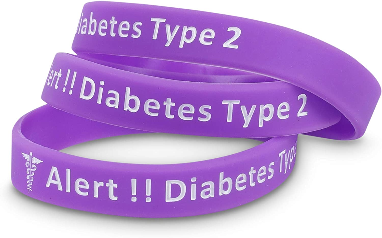 Silikon Medicaband/® Medizinisches Notfallarmband Typ 2 Violett 3 St/ück