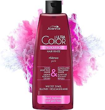Joanna Ultra Color – Acondicionador de color rosa para cabellos rubios y claros – Rosa pastel/rosa – Brillo natural – Elimina el tono amarillo en ...