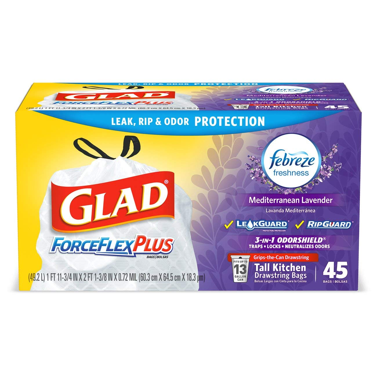 Glad Tall Kitchen Drawstring Trash Bags - ForceFlexPlus 13 Gallon White Trash Bag, Mediterranean Lavender - 45 Count by Glad