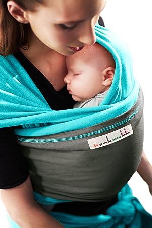 je porte mon bébé Originale Echarpe Turquoise Poche Eléphant  Amazon ... 386732b925e