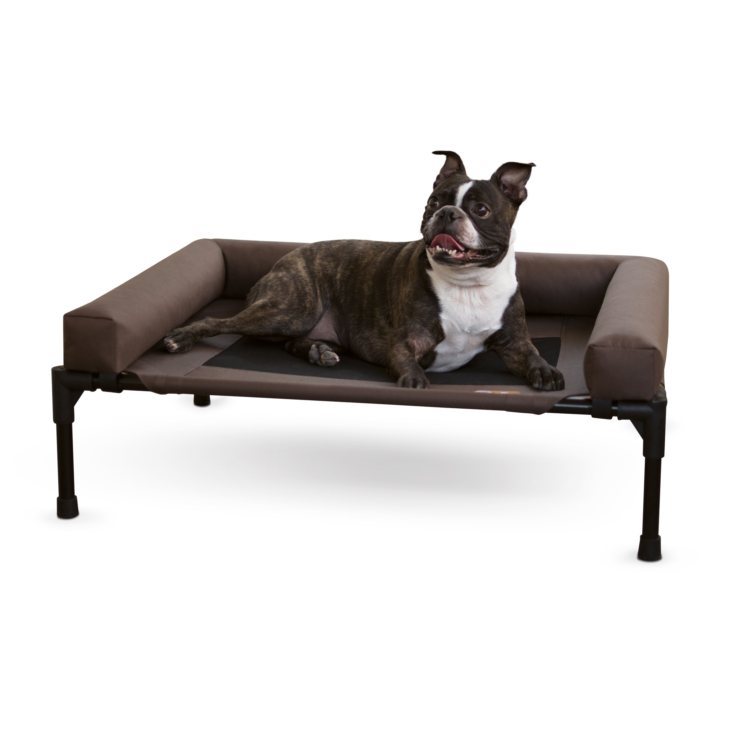 K&H Pet Products Original Bolster Pet Cot Elevated Pet Bed Medium Chocolate/Mesh 25'' x 32'' x 7''