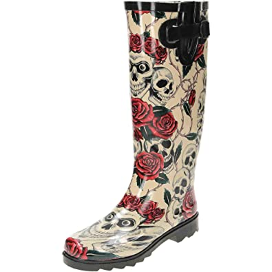 4a487556896 Ladies New Skull Roses Wellington Wellies Goth Flat Black Red Boots Rain  Snow