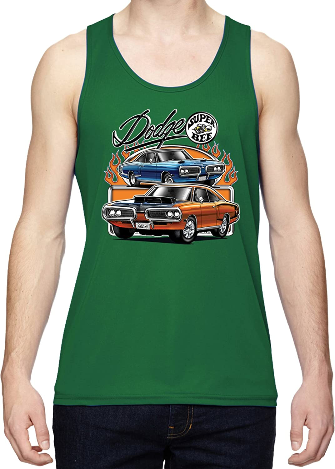 a0ea80e6d149e5 Amazon.com  Buy Cool Shirts Mens Dodge Blue and Orange Super Bee Dry  Wicking Tank Top  Clothing