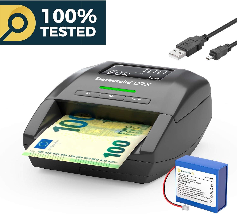 Detectalia D7X - Detector de billetes falsos, batería de litio recargable y cable de actualización
