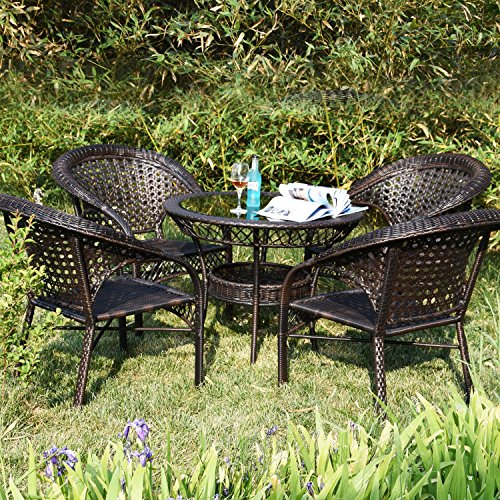 Joveco 4-piece Rattan Wicker Outdoor Backyard Bistro Dining Chair Set - (Set of Four) (Wicker Dining Set Outdoor)