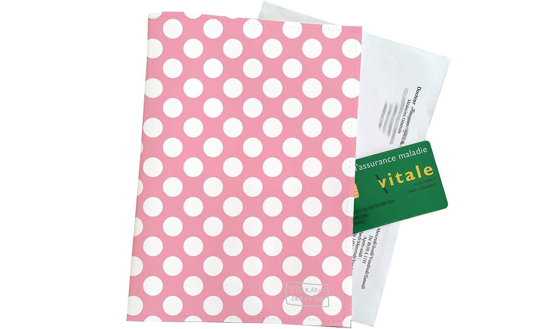 Grand porte ordonnance et carte vitale Motif Pois blancs fond rose Réf. 2070