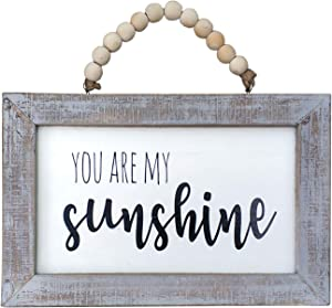 """NITYNP You are My Sunshine White Background Greywash Wood Framed Wood Wall Decor Sign Plaque 12""""x8"""""""