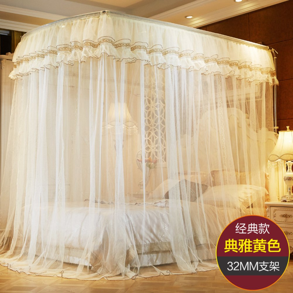 U-shaped telescopic mosquito net, Floor stand Princess Double Home Bed canopy-H Queen2