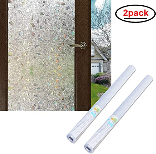 Wopeite 3D Window Film Self-Adhesive 2 Pack Frosted Semi Privacy Static Cling Home Bedroom Bathroom Glass 35.4X 78.7 inches