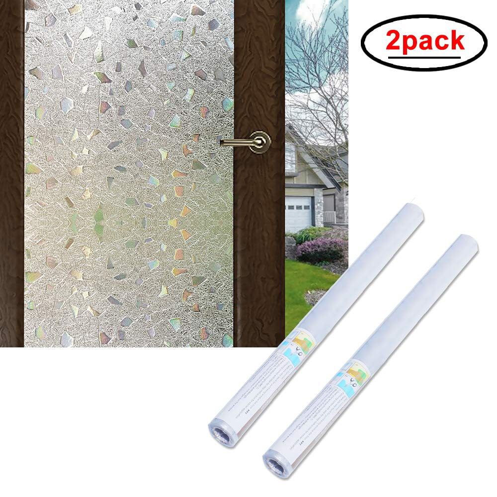 Wopeite 3D Window Film Self-Adhesive 2 Pack Frosted Semi Privacy Static Cling Home Bedroom Bathroom Glass (35.4X 78.7 inches) by WPT