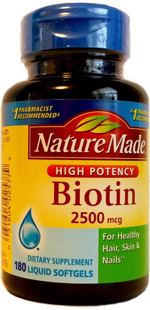 Nature Made 2,500mcg Biotin Liquid Softgels 180 count