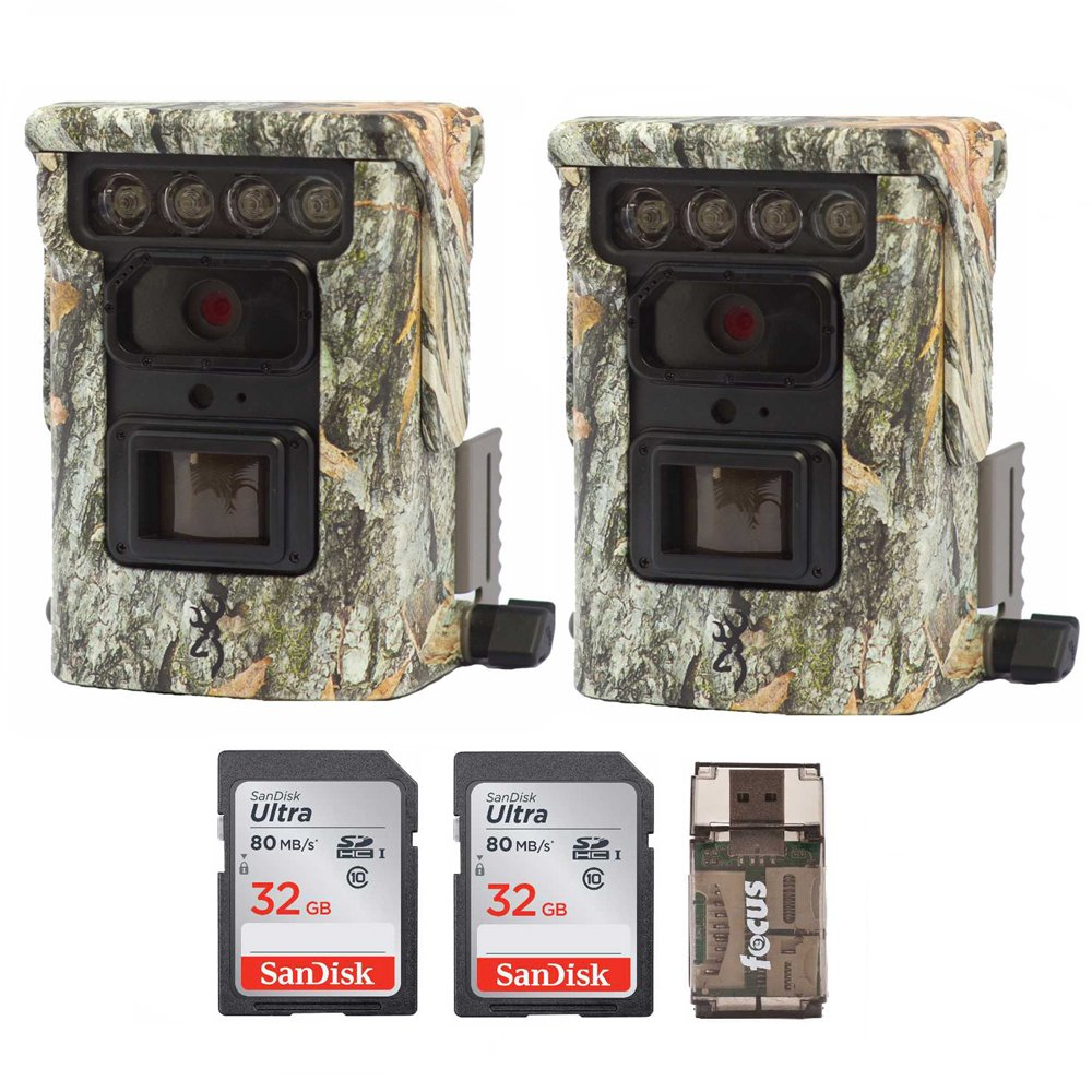 Two Browning BTC9D Defender 850 WiFi/Bluetooth Trail Game Cameras (20MP, Camo) & 2 32Gb Cards w. Focus Reader by Browning Trail Cameras