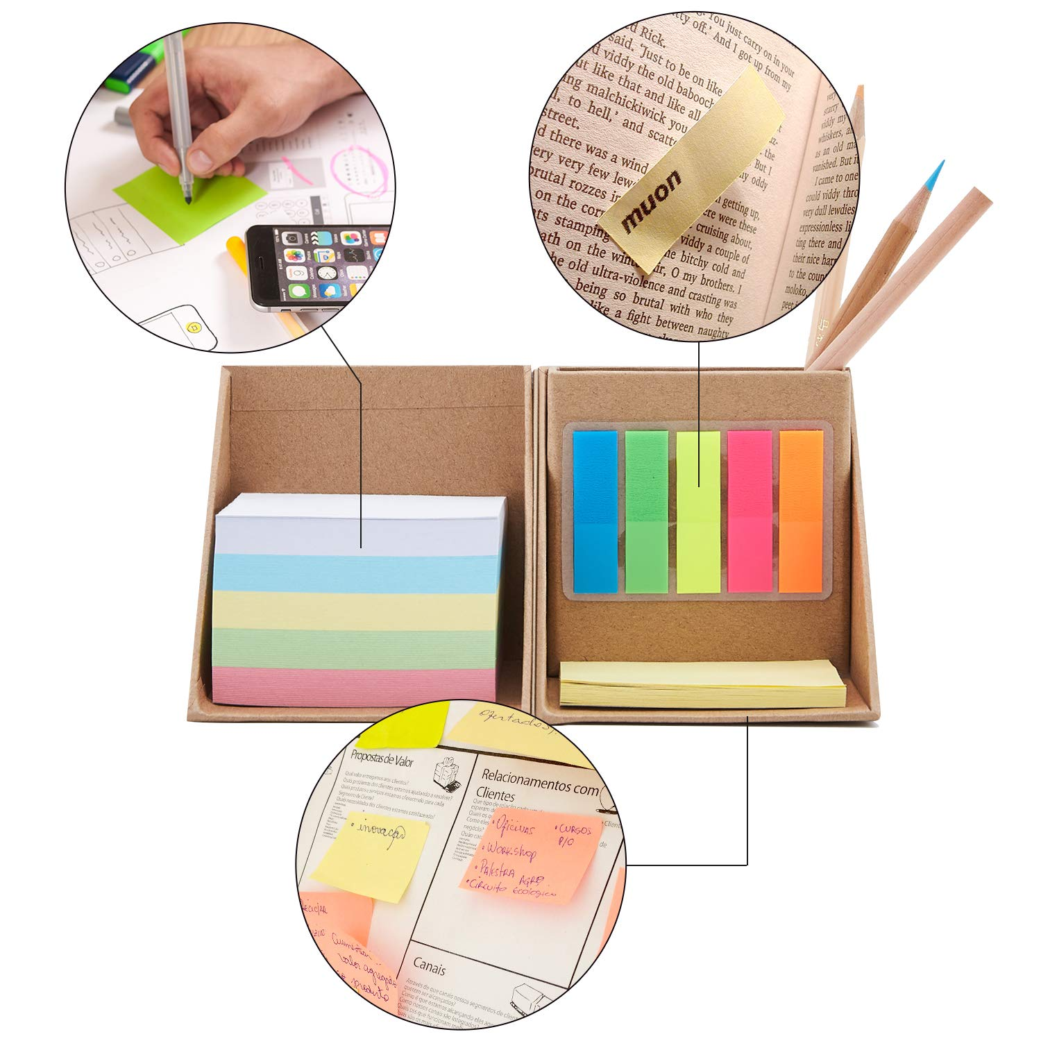 Amazon com : Sticky Notes Colored Divider Sticky Notes