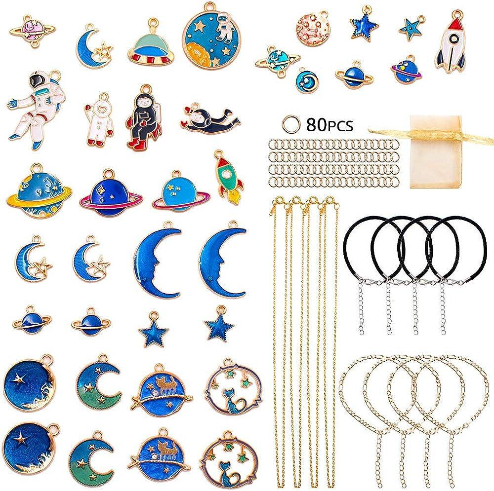 SnailGarden Charm colgante DIY, 36 piezas de Colgantes de Esmalte + 4 piezas de Collares + 4 piezas de Pulseras + 4 piezas de Tobilleras + 80 piezas de Anillos Abiertos para Hacer Joyas y Manualidades