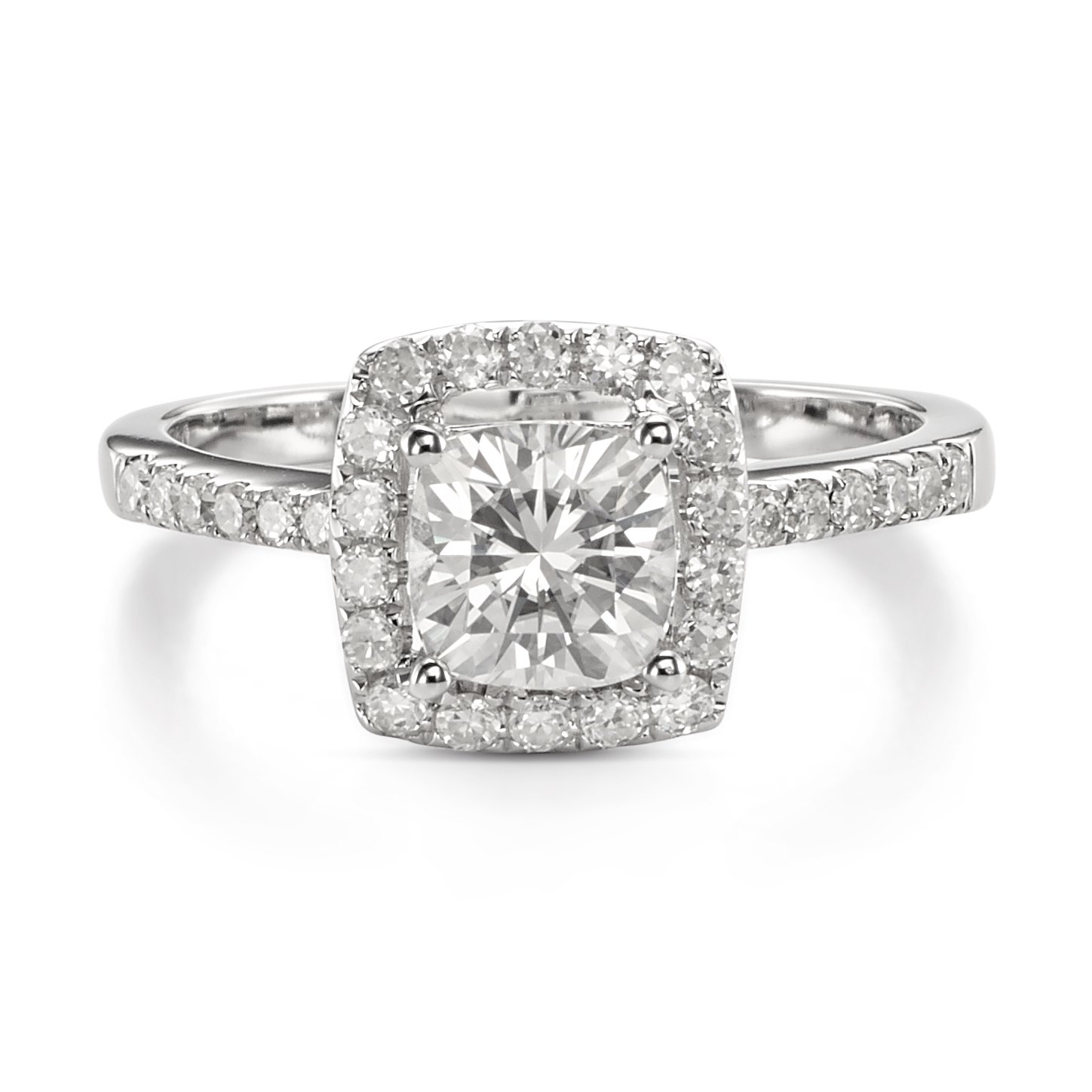 Forever One Cushion 6.0mm Moissanite Halo Ring-size 8, 1.40cttw DEW (G-H-I) By Charles & Colvard
