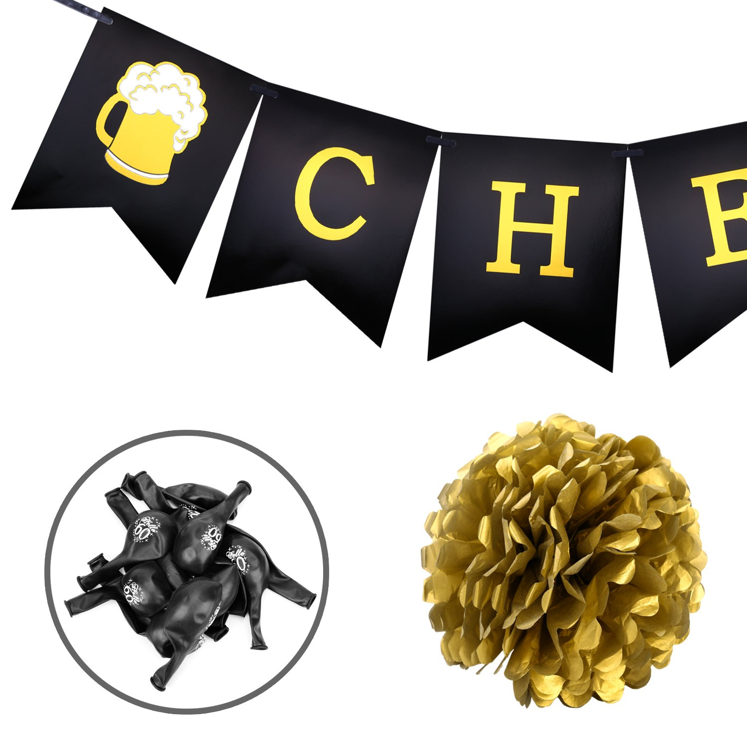 60th Birthday Party Decorations Konsait Cheers To Banner Number 60 Years Foil