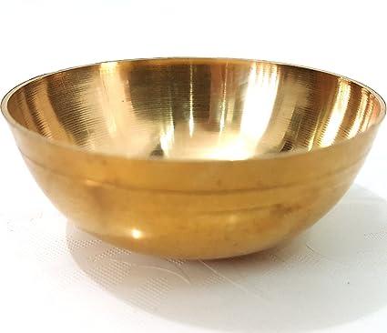 47b1b85afbb 100% Pure Brass Bowl For Bhog Prasad Arti Vraja Krishna Ganesha Laxmi  Worship Pooja