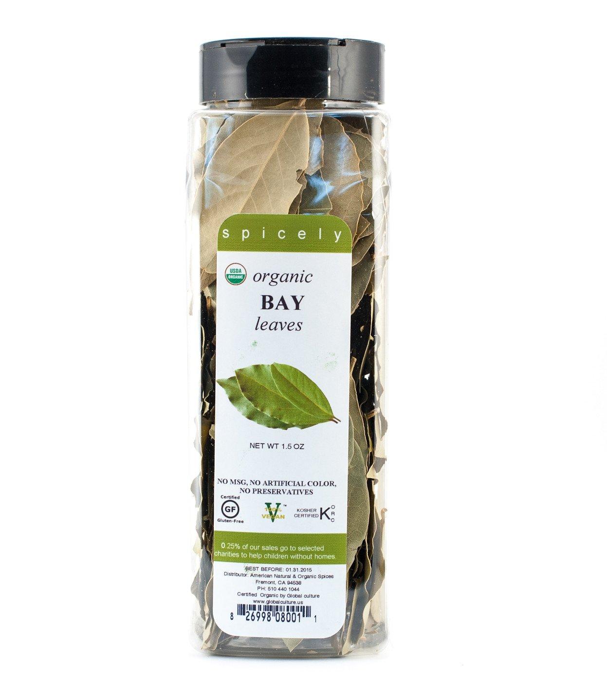 Spicely Organics, Bay Leaves, Turkish, 1.5 oz