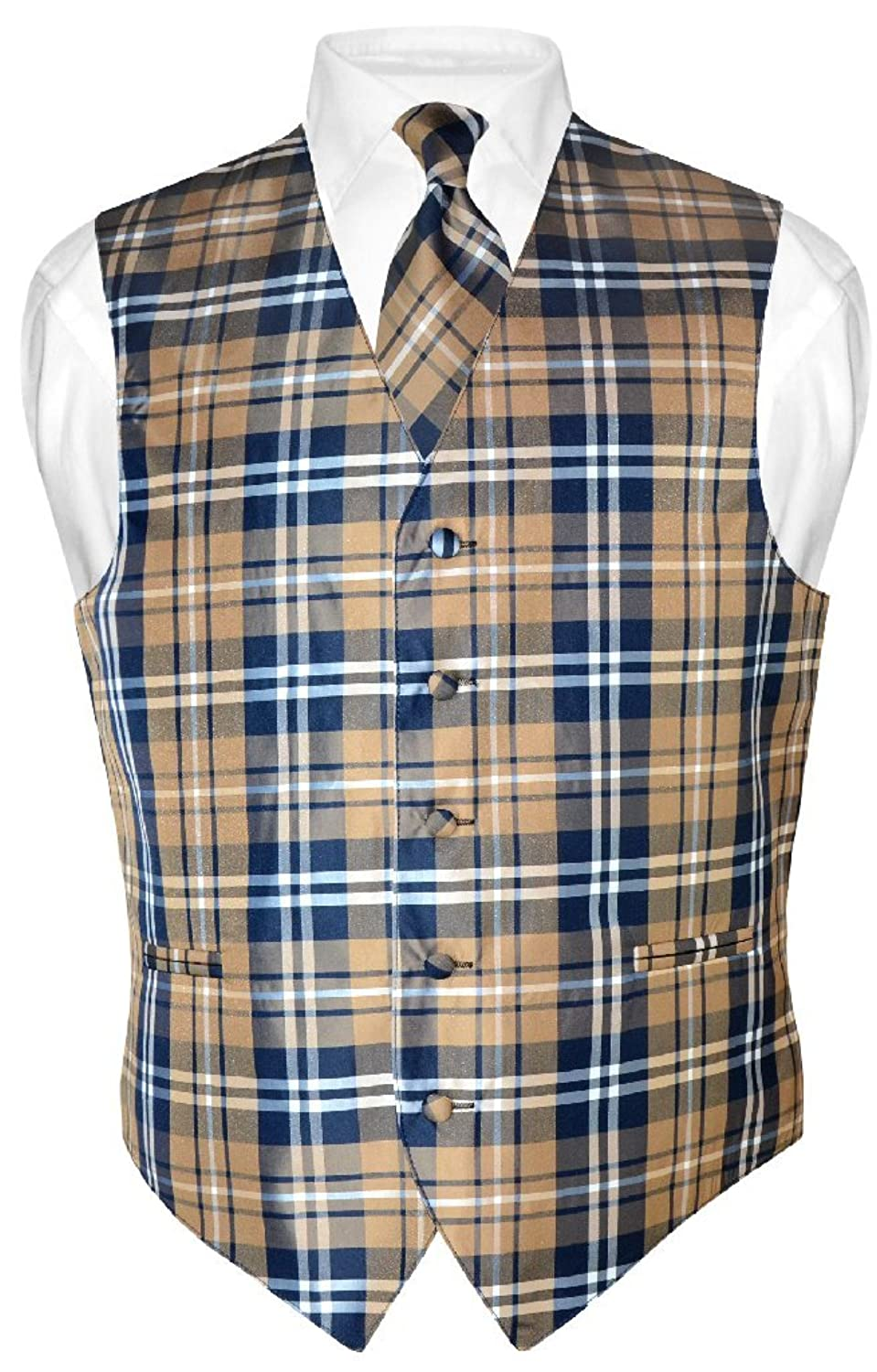 Men's Steampunk Clothing, Costumes, Fashion Mens Plaid Design Dress Vest & NeckTie Navy Brown White Neck Tie Set $26.99 AT vintagedancer.com