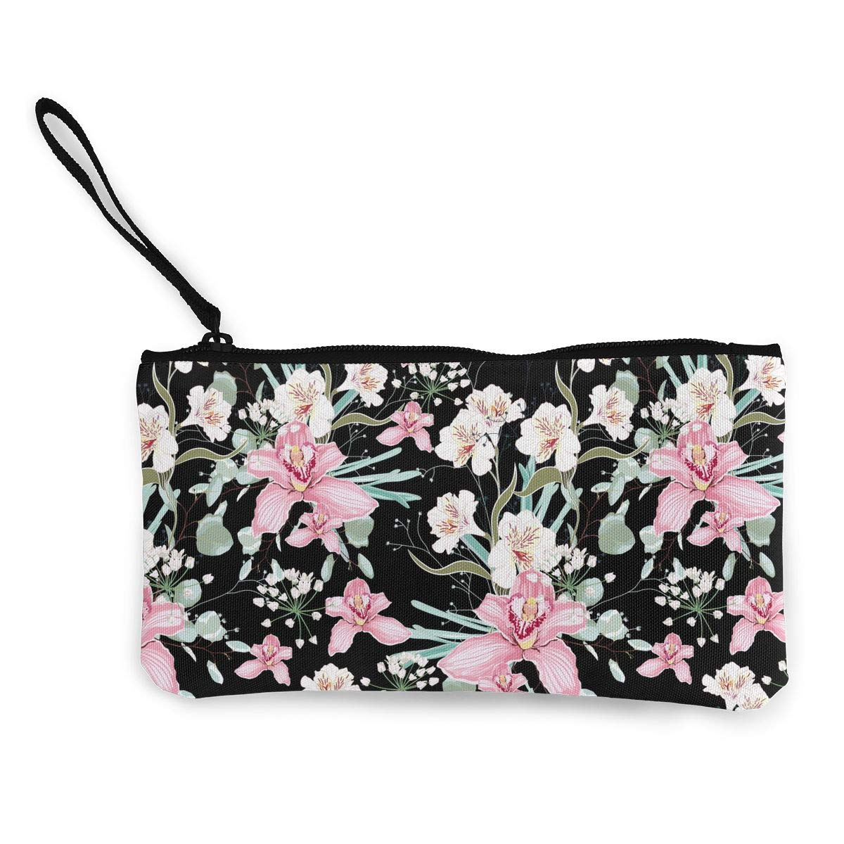 Zipper Small Purse Wallets Orchid Flower Pattern Girls Canvas Change Purse