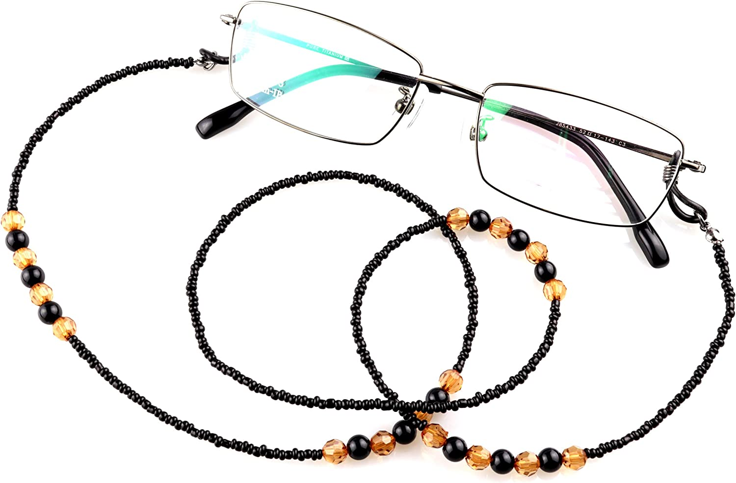 Fits All Eyeglasses Types B029 70cm Beautiful Black Beads 2 Pack Anti-Slip Beaded Glasses Chain Retainer for Spectacles /& Sunglasses