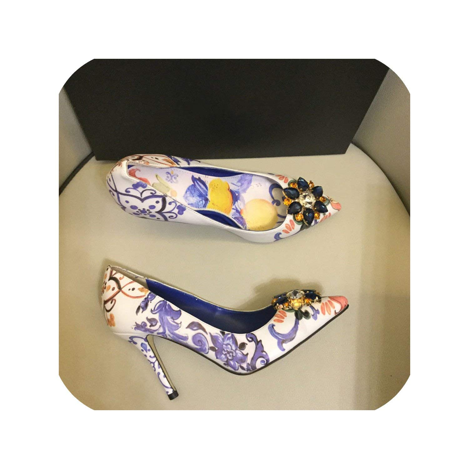 purple 10cm The Hot Rock-sandals Printed color High Heel shoes Woman Point Toe Shallow Thin Heel Bling Crystal Wedding shoes Women