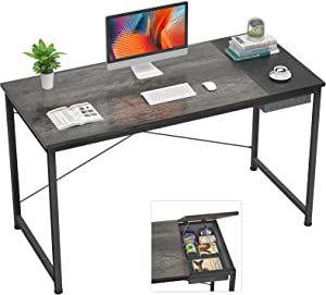 Foxemart Computer Home Desk, 47 Inch Study Writing College Student Desk for Home Office Workstation, Modern Simple Style Laptop Table with Hidden Storage Bag/Drawer, Apartment Desk, Gray Oak Black