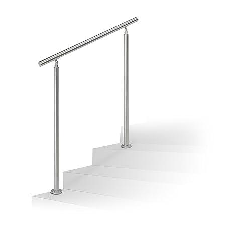 Escaleras barandilla Relaxdays, juego de acero inoxidable, para interior y exterior, pasamanos, 1 m de largo, 2 postes, sin travesaños, plata