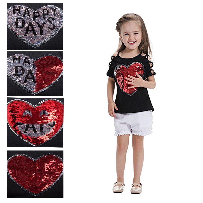 "VIPbuy Kid Girls' Short Sleeve T-Shirt Magic Reversible Sequins Letter Print Tee Tops (Height: 47.2""-51.2"", Black) by VIPbuy (Image #2)"