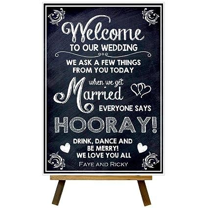 Personalizado Pizarra Estilo Bienvenido boda Horray boda ...