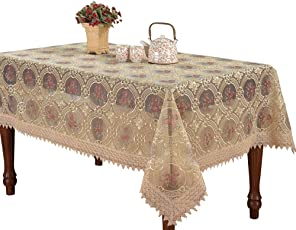 Simhomsen Vintage Beige Embroidered Floral Lace Linen Tablecloths Rectangle 60 × 84 inch