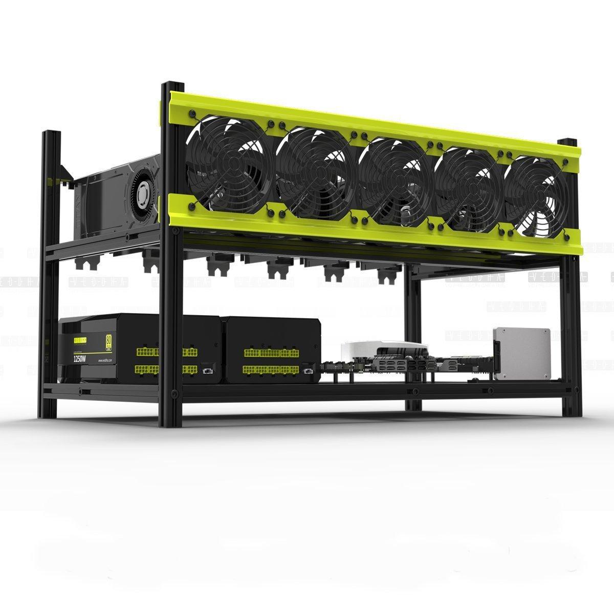 Veddha Professional 6 GPU Miner Case Aluminum Stackable Mining Case Rig  Open Air Frame for Ethereum(ETH)/ETC/ZCash/Monero/BTC Excellent air  Convection